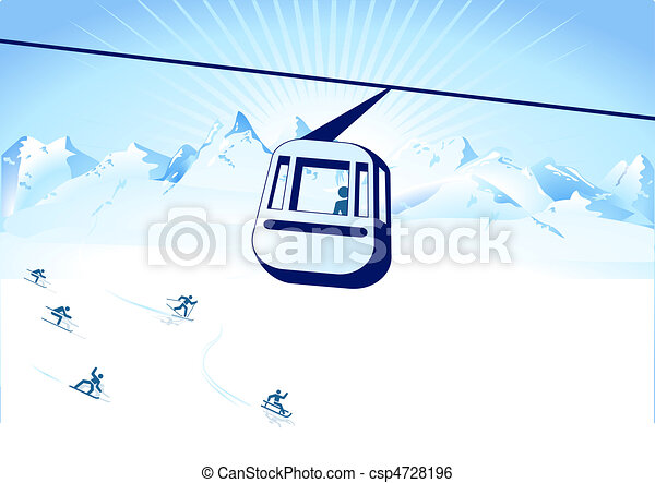 cable-way and winter sports - csp4728196