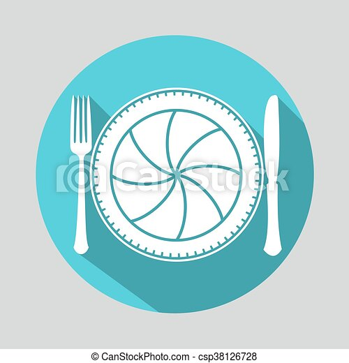 Camera lens with fork and knife - csp38126728