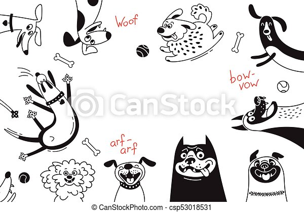 Card with joyful dogs and happy puppies. Vector background with mongrels, sheepdog, dachshund, lap-dog and others breeds - csp53018531