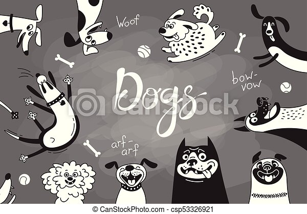 Card with joyful dogs and happy puppies. Vector background with mongrels, sheepdog, dachshund, lap-dog and others breeds - csp53326921
