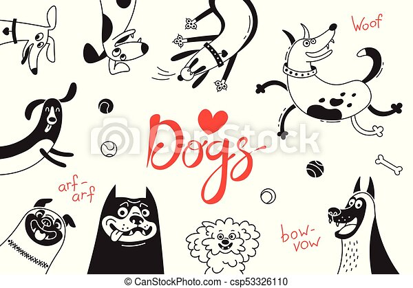 Card with joyful dogs and happy puppies. Vector background with mongrels, sheepdog, dachshund, lap-dog and others breeds - csp53326110