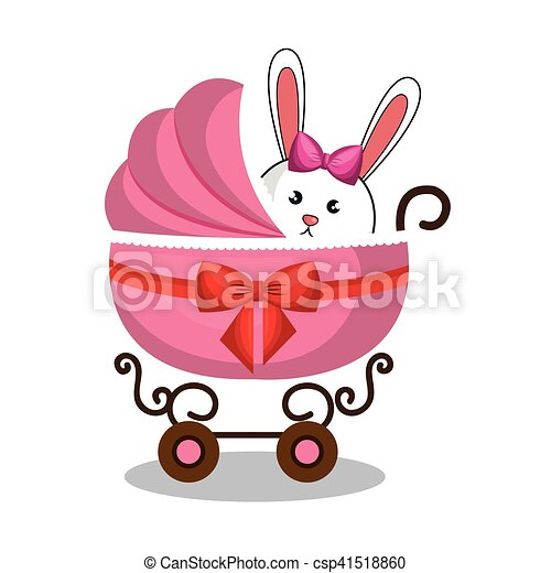cart baby with cute stuffed animal - csp41518860