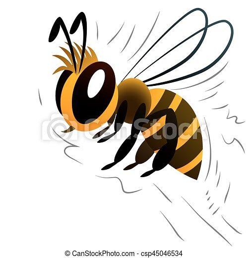 cartoon bee on a white background - csp45046534