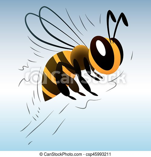 cartoon bee on a white background - csp45993211
