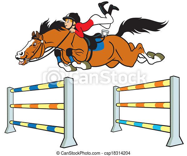 cartoon boy horse rider - csp18314204