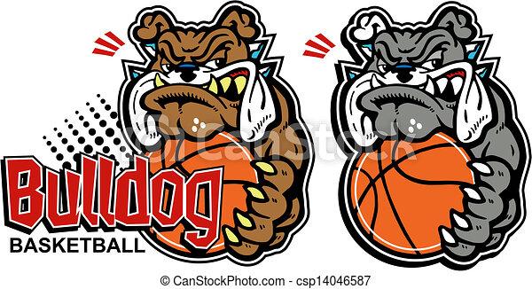 cartoon bulldog with basketball - csp14046587