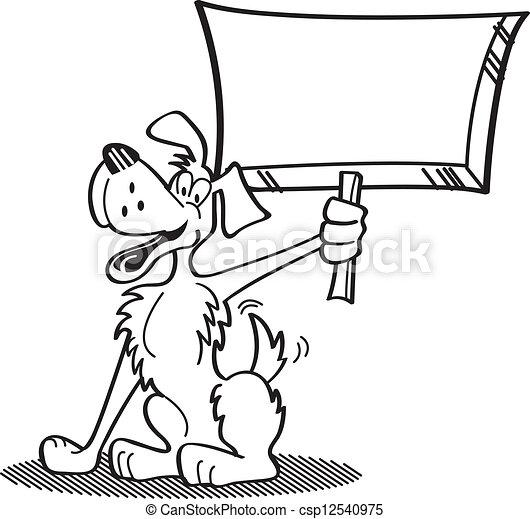 Cartoon Dog Holding Sign - csp12540975