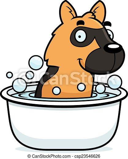 Cartoon German Shepherd Bath - csp23546626