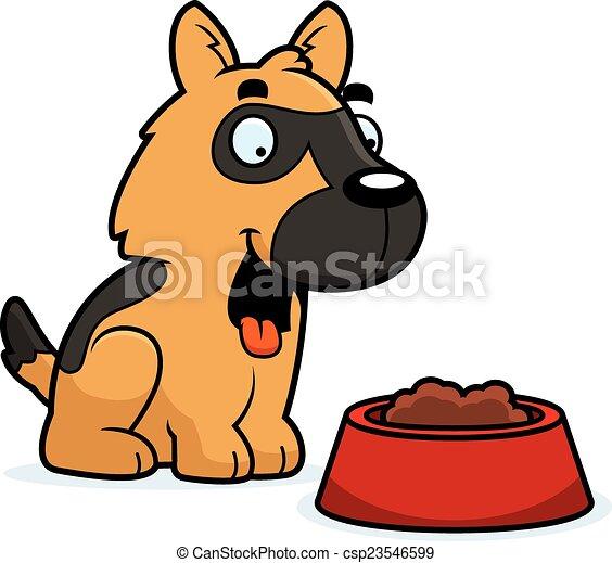 Cartoon German Shepherd Food - csp23546599