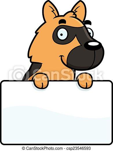 Cartoon German Shepherd Sign - csp23546593