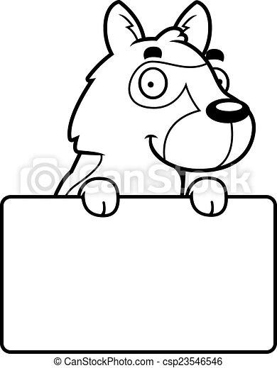 Cartoon German Shepherd Sign - csp23546546