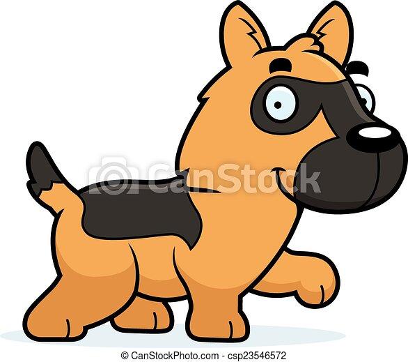Cartoon German Shepherd Walking - csp23546572