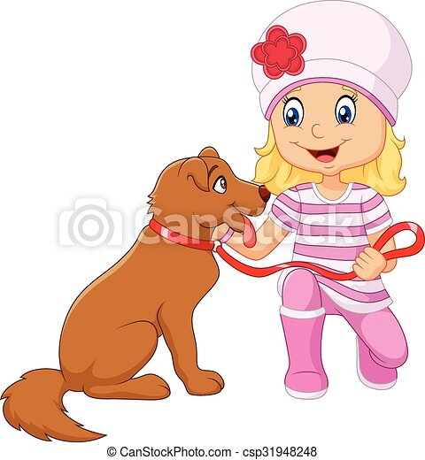 Cartoon girl with her dog isolated - csp31948248