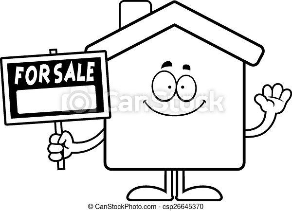 Cartoon Home Sale Waving - csp26645370