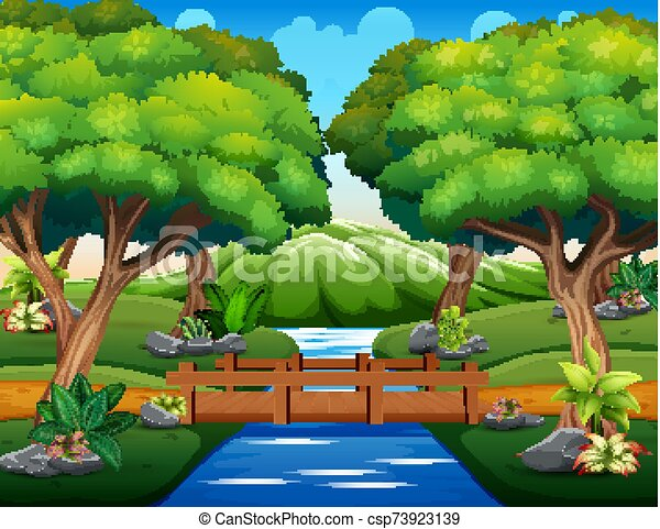 Cartoon of the small wooden bridge in the woods - csp73923139