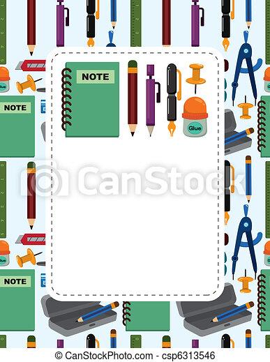 cartoon school stationery card - csp6313546