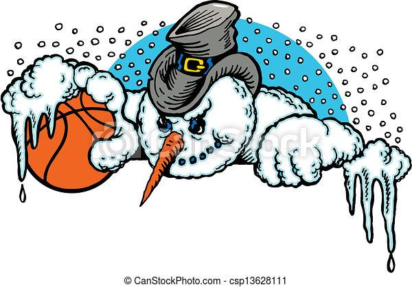 cartoon snowman with a basketball - csp13628111