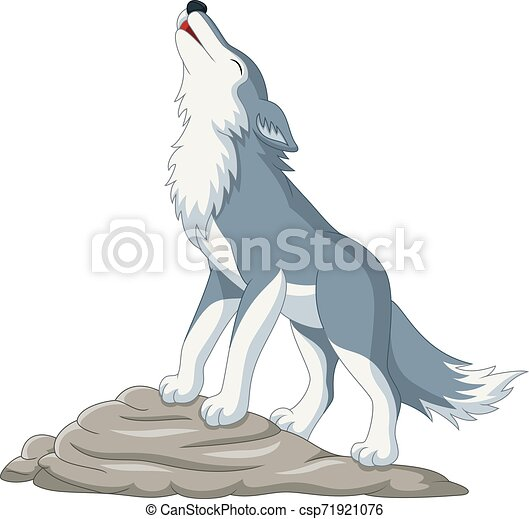 Cartoon wolf howling on the rock - csp71921076