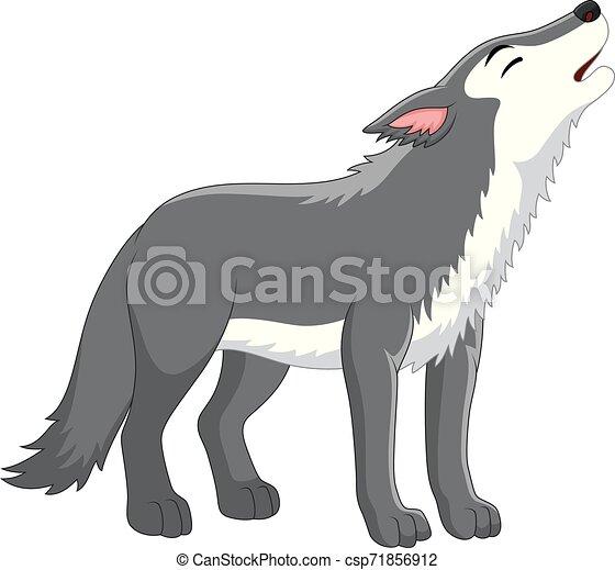 Cartoon wolf howling on white background - csp71856912