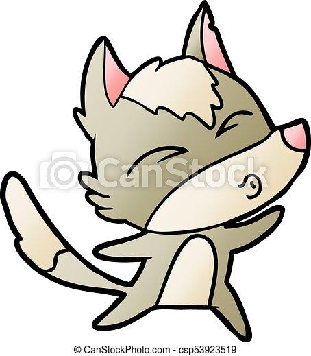 cartoon wolf howling - csp53923519