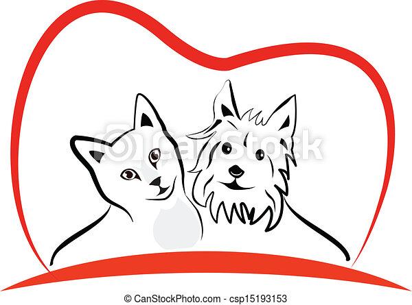 Cat and dog love heart logo vector - csp15193153