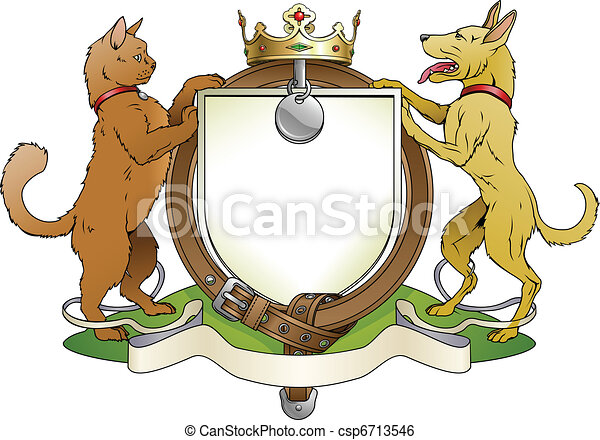 Cat and dog pets heraldic shield coat of arms - csp6713546