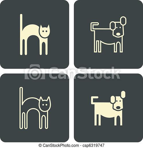 Cat and dog - vector icons, symbols - csp6319747