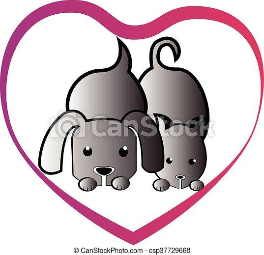 Cat dog love heart - csp37729668