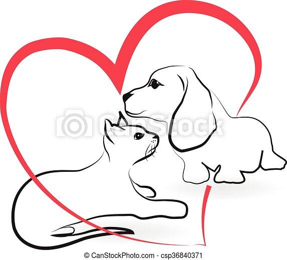 Cat dog love heart logo - csp36840371