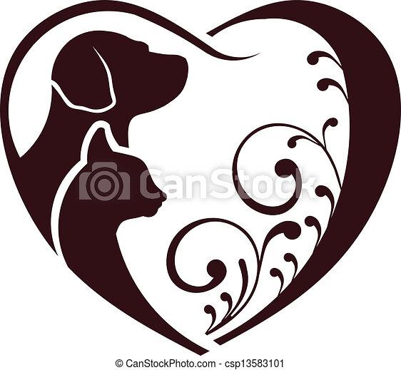 Cat dog love heart - csp13583101
