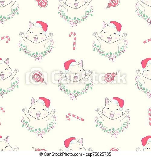 Cat seamless pattern Christmas vector Santa Claus Hat Xmas kitten cartoon isolated tile background repeat wallpaper illustration - csp75825785