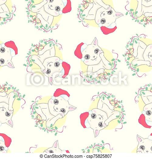 Cat seamless pattern Christmas vector Santa Claus Hat Xmas kitten cartoon isolated tile background repeat wallpaper illustration - csp75825807