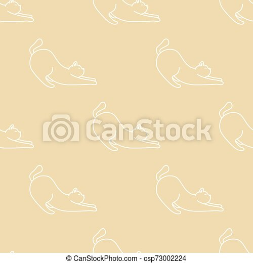 Cat Seamless Pattern kitten vector scarf isolated repeat wallpaper cartoon doodle illustration tile background - csp73002224