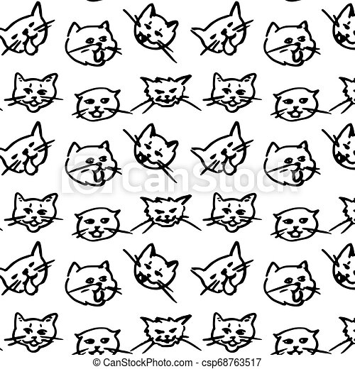 cat seamless pattern kitten vector scarf isolated background repeat wallpaper doodle - csp68763517