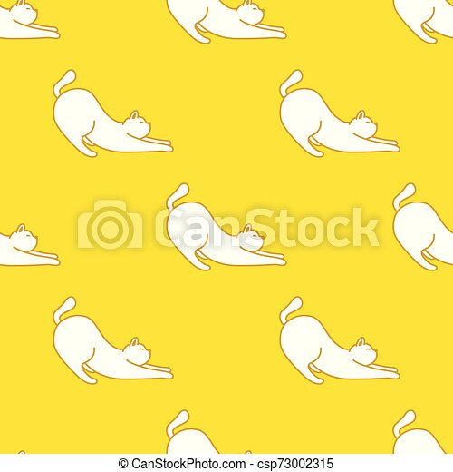 Cat Seamless Pattern kitten vector scarf isolated repeat wallpaper illustration tile background - csp73002315