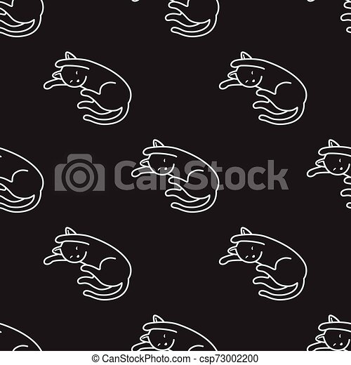 Cat Seamless Pattern kitten vector scarf isolated tile background repeat wallpaper cartoon illustration black - csp73002200