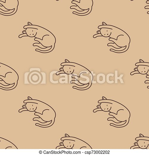 Cat Seamless Pattern kitten vector scarf isolated repeat wallpaper tile background cartoon doodle illustration - csp73002202