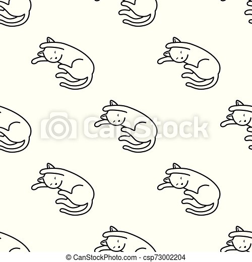 Cat Seamless Pattern kitten vector scarf isolated repeat wallpaper tile background cartoon illustration doodle - csp73002204