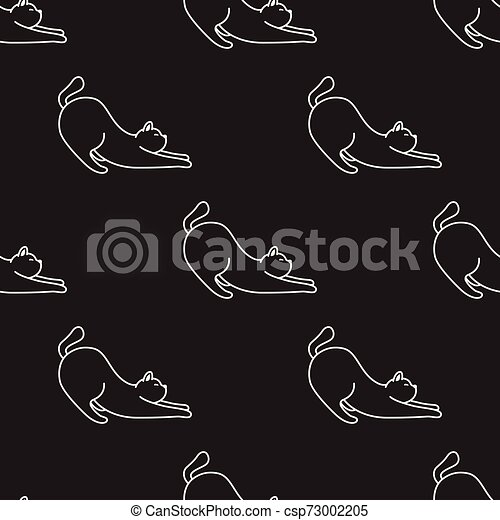 Cat Seamless Pattern kitten vector scarf isolated repeat wallpaper tile background cartoon illustration - csp73002205