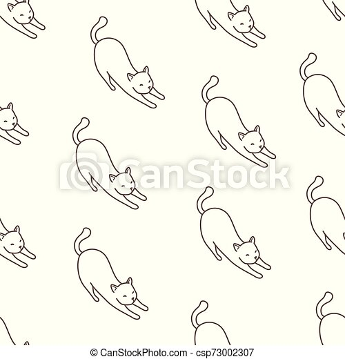 Cat Seamless Pattern kitten vector scarf isolated repeat wallpaper illustration tile background cartoon doodle - csp73002307