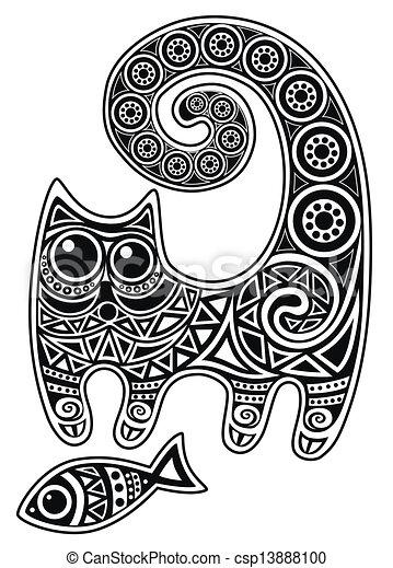 cat with fish - csp13888100
