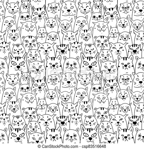 Cats. Cartoon vector seamless wallpaper. Vector illustration on white isolated background. Pattern - csp83516648