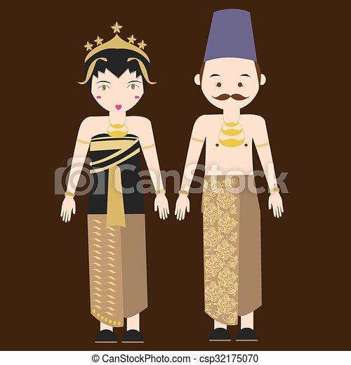 central java javanese indonesian traditional clothes woman dress vector cartoon costume asian - csp32175070