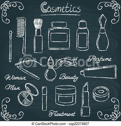 Chalkboard cosmetic bottles set 3 - csp22374807