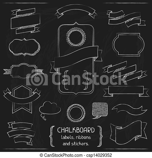 Chalkboard labels, ribbons and stickers. - csp14029352