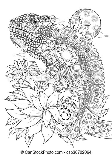 chameleonb adult coloring page - csp36702064