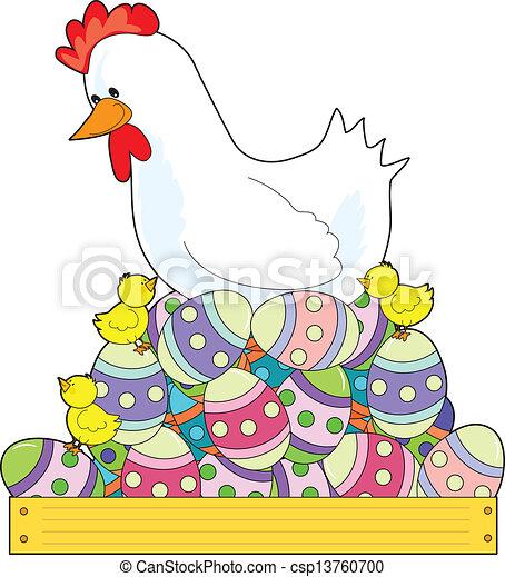 Chicken Easter Eggs - csp13760700