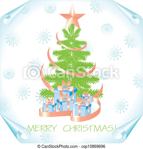 christmas background with tree on a paper - csp10869696