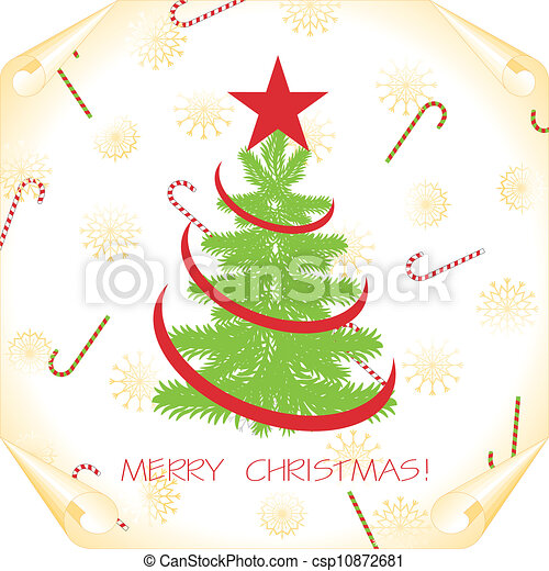 christmas background with tree on a paper - csp10872681