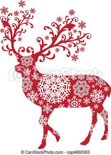 Christmas deer, vector - csp4660063